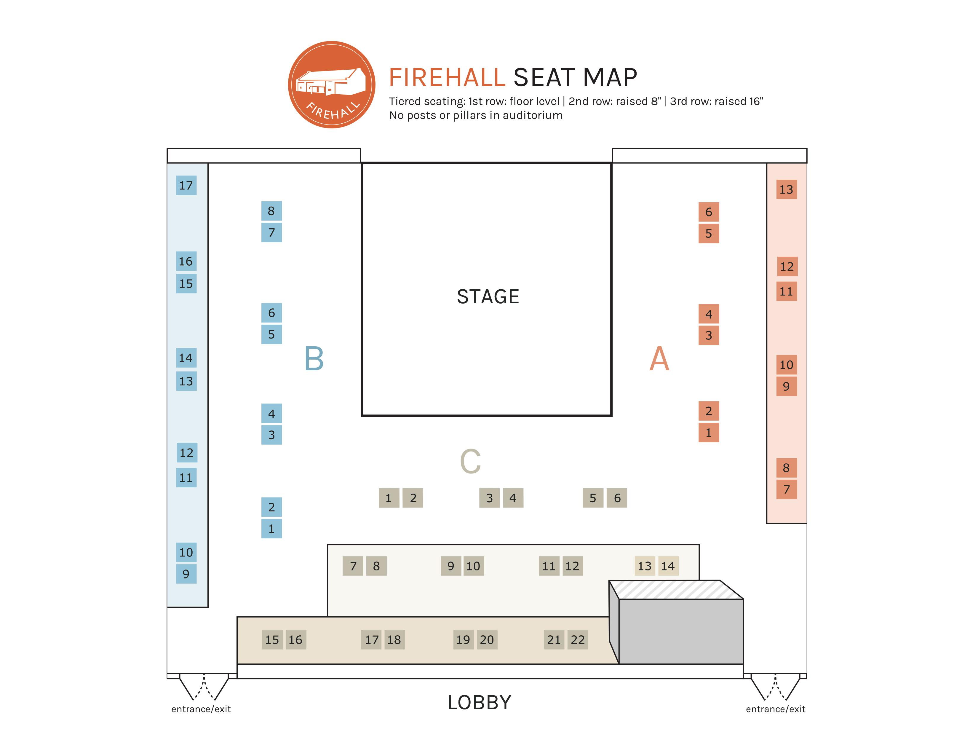 Firehall Seating Chart. Call our box office if you require a description of the seating chart.